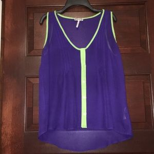 Purple and lime green tank top